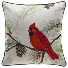 Christmas Cardinal Linen/Polyester Throw Pillow   Overstock.com Shopping - The Best Deals on Throw Pillows