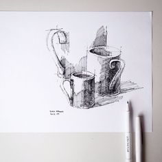 #sketch - plain white coffee cups from my friends @sur_la_table | by Dan Hogman
