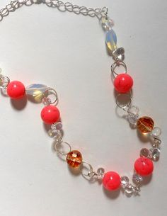 Sterling silver handmade links with resin,  crystal and opalite beads.