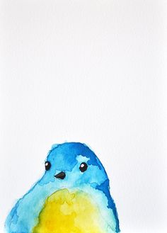 Blue Bird 3  ORIGINAL Watercolor bird by ArtCornerShop on Etsy