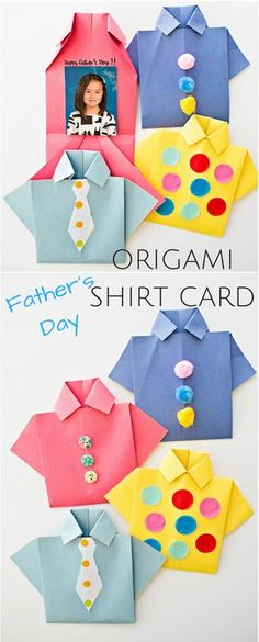 Easy Origami Father's Day Shirt Card. Kids can decorate this cute card for dad and add a special photo and message inside!