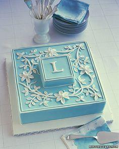 Simple monogram cake