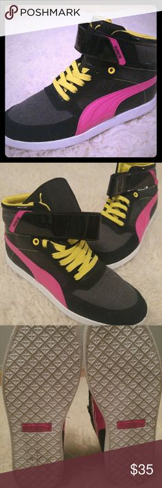 Like New Women's Puma Shoes 8.5 Worn only once, and in PRISTINE condition. No signs of wear!   Style: Skylaa mid PZ Wn's Color: black, cabaret, yellow Puma Shoes Athletic Shoes