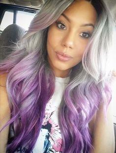 Pantone Lilac Grey Ombre Wig