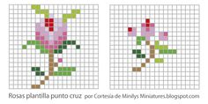 Miniature floral pattern / chart for cross stitch, crochet, knitting, knotting, beading, weaving, pixel art, micro macrame, and other crafting projects.