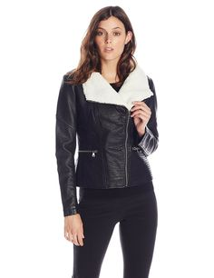 Jessica Simpson Women's Faux-Leather Moto Jacket #autumn #style #outfit