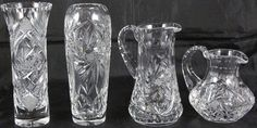 """Bohemian Genuine Cut Crystal:  7 1/8"""" Vase,  7"""" Vase, 5 3/4"""" Small Pitcher & 4 1/2"""" Small Pitcher"""