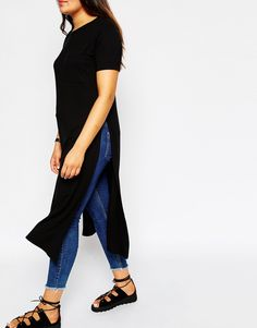 Image 3 of ASOS CURVE Maxi Tee with Side Splits