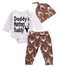 Newborn Baby Boy Christmas Top Romper Deer Pants Legging Hat Outfits Set Clothes Baby Autumn Clothing(China (Mainland))