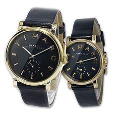 Amazon|MARC BY MARC JACOBS(マークバイマークジェイコブス)ペアウォッチ 2本セット 腕時計 ゴールド×ブラック&本革レザーベルトのペア- 時計 BAKER ベイカー MBM1269 MBM1273 [並行輸入品]|海外ブランド 通販