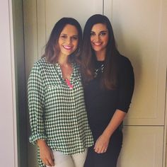 Mia Freedman and Jamila Rizvi on set for our hair journeys series.