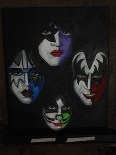 Kiss.  #kiss #kissarmy #genesimmons  #starchild #Paulstanley #Ace Frehley #Peter Criss #art #diy #paint