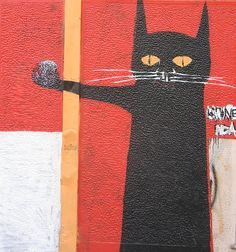 Black Cat - Red background by Ryunosuke, via Flickr