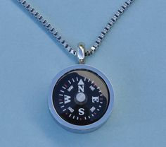 Thin Bezel Stainless Steel Working Compass Pendant with Chain only $33.50 and can be custom engraved!
