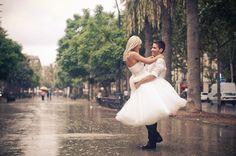 rain bride and groom