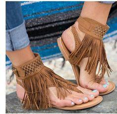 f9382643b3 Flat Rhinestones Tassels Flip Flops Sandals – boholooks Moda Para Mujer