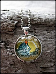 Postage Stamp Pendant  Fish Float by OhThePost on Etsy, $30.00