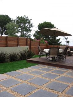 love this look of pavers/gravel – pretty sure dog would quickly scatter gravel into grass, on deck, etc. Also like...
