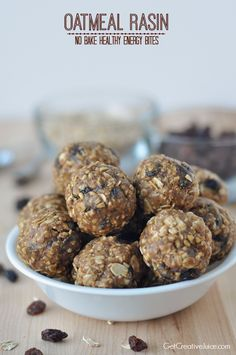 Oatmeal Raisin No bake healthy energy bites
