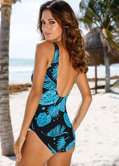 ddddf8a370 Blue Printed Leaf Shaper Swimsuit by bpc selection