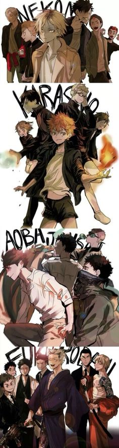 Haikyuu teams *^* <3 http://dancing-on-stars.tumblr.com/post/120458356222/by-ppopporibb-permission-to-post-given-by-the