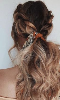 double braids into a bandana low ponytail | brunette balayage long hair ideas