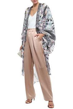 Camilla Her Shoes Embellished Crepon-paneled Silk-satin Jacquard Kimono In Gray Camilla Clothing, Silk Satin, World Of Fashion, Luxury Branding, Harem Pants, Your Style, Duster Coat, Kimono, Slip On