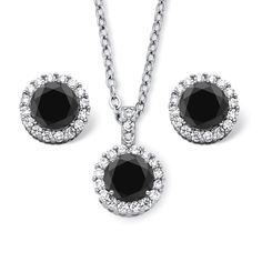 """Pretty Jewellery 14K White Gold Fn S925 W/ Black CZ & Sim Diamond Solitaire Halo Pendant & Earring Set. Metal : 925 Sterling Silver, Metal Finish : White Gold Finish. Main Stone : Black CZ & Simulated Diamond, Main Stone Colour : Black & White. Stone Clarity : NA & VVS1, Stone Shape : Round. Chain Length : 18"""" Length, Earrings Back Finding : Screw Back, Gender : Womens. Style : Solitaire Halo Pendant & Earring Necklace Set."""