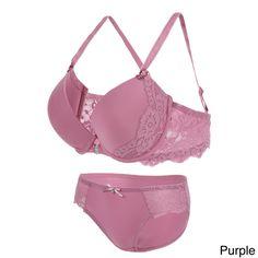 Floral Lace Romantic Underwire Bra and Panty Set (Purple / Panty L), Women's Best Yoga Clothes, Best Leggings, Bra And Panty Sets, New Outfits, Floral Lace, Underwear, Outfit Ideas, Women's Fashion, Lingerie