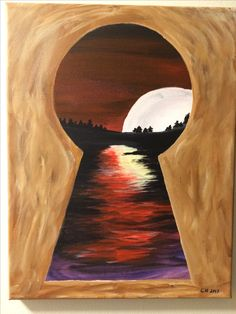 Look through the keyhole (painted on April - Art Painting Cute Canvas Paintings, Easy Canvas Painting, Simple Acrylic Paintings, Acrylic Art, Painting & Drawing, Canvas Art, Diy Painting, Creation Art, Pastel Art