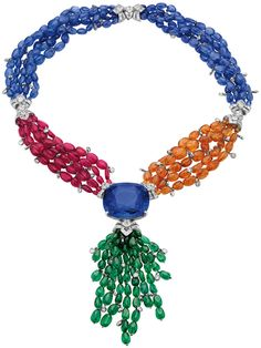 Bulgari Elizabeth Taylor Sapphire necklace. The central sapphire is 165 carats.    Via The Jewellery Editor.