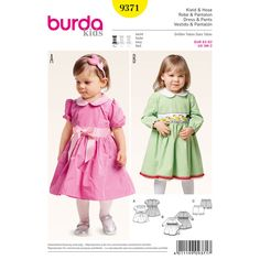 Our Peter Pan collar dress and panties is a sweet outfit for little girls. The gathered skirt is buttoned in back and has an underskirt. A Burda Style sewing pattern.