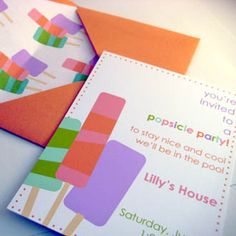 A closer view of the popsicle invite...again I love the envelope as well. Available in colors for boys and girls.