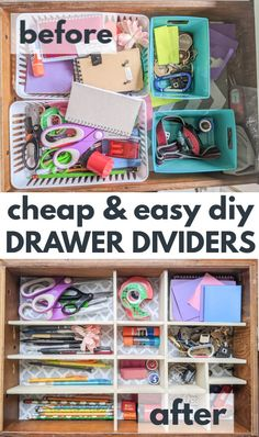 These easy diy drawer dividers are the perfect way to get your junk drawer and other drawers organized once and for all. Even better, they are super cheap and easy to make! Junk Drawer Organizing, Diy Drawer Organizer, Organizers, Kitchen Drawer Dividers, Diy Kitchen Storage, Bedroom Organization Diy, Organization Ideas, Diy Room Divider, Diy Drawers