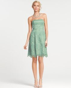 Embroidered Strapless Bridesmaid Dress from @Ann Taylor.  Love the green!
