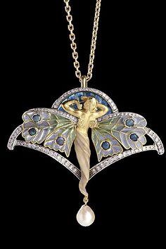 vintage Art Nouveau pendant by Masriera - butterfly woman