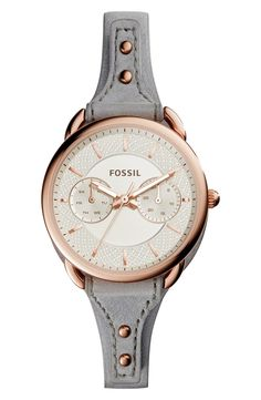 Fossil 'Tailor' Multifunction Leather Strap Watch, 35mm available at #Nordstrom