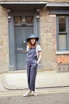 overalls + wide brim hat