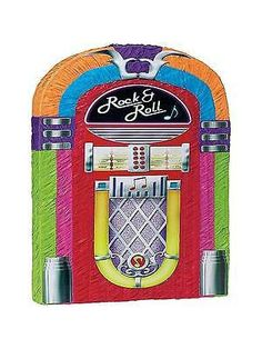 """This jukebox pinata is perfect for any party. 17 1/2"""" x 3"""" x 21 3/4"""" This Pinata is the traditional style, so get out your Pinata bat and blindfold and get to the sweets (sold separately) Please Note:"""