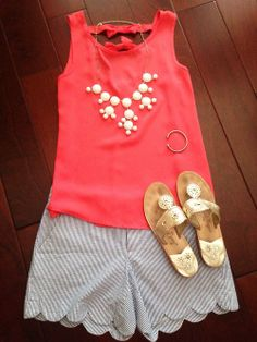 seersucker shorts, coral tank and Jack Rogers! Preppy Outfits, Preppy Style, Style Me, Summer Outfits, Cute Outfits, Summertime Outfits, Amazing Outfits, Girl Outfits, Seersucker Shorts