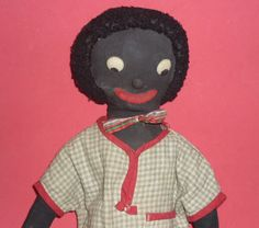 1930's  Black Cloth Doll  Wool Outfit and by DolllightedToMeetYou