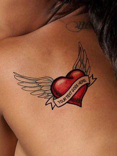 Custom Winged Heart Tattoo - AsIfTattooed.com