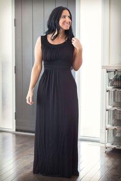 Image of Waist Detailed Maxi Dress - Black