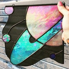 Completely in love with stained glass art! The iridescent Saturn piece really gets this Capricorn Space Queen goin' in particular Would love to hang this baby in the corner of my bedroom window ⚡️ . Stained Glass Lamps, Stained Glass Designs, Stained Glass Projects, Stained Glass Patterns, Stained Glass Windows, Window Glass, Fused Glass, Mosaic Designs, Art Designs