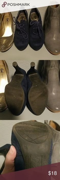 Blue faux suede booties EUC FIONI Clothing Shoes Ankle Boots & Booties