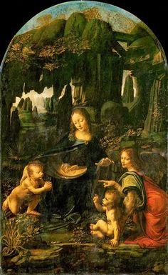 """Leonardo da Vinci (1452-1519) """"La Virgen de las Rocas"""", 1485 199 x 122 cm - óleo sobre madera Museo del Louvre, París"""
