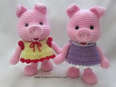 Dress Up Pigs Free Pattern ~ Amigurumi To Go. Piggies and their cute outfits!  Plus a lil boy and a vest for him!  Sooooo cute!