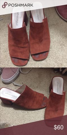 Jeffrey Campbell red mules Size 7, can only tell wear when shoe is off Jeffrey Campbell Shoes Mules & Clogs