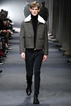shearling-collared short jacket. neil barrett fall/winter 2015.