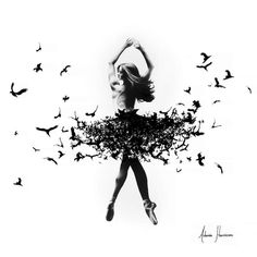 Free Bird Dance by Ashvin Harrison is printed with premium inks for brilliant color and then hand-stretched over museum quality stretcher bars. Money Back Guarantee AND Free Return Shipping. bird Free Bird Dance Art Print by Ashvin Harrison Art Ballet, Ballet Painting, Dance Paintings, Ballet Dancer Tattoo, Ballet Tattoos, Ballerina Tattoo, Ballet Drawings, Art Drawings, Ballerina Kunst